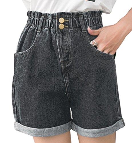 NiSeng Damen Hohe Taille Breites Bein Kurze Hose Jeans Gummizug In Der Taille Crimpen Kurze Jeans Grau