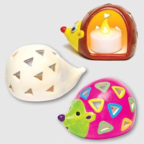 """Keramik-Teelichthalter """"Igel"""" für Kinder zum Bemalen und Dekorieren (4 Stück) (Porzellan Spielzeug)"""