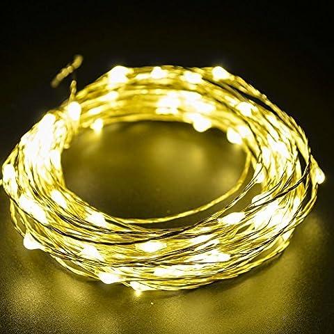 10m Di Natale della stringa dei 100 LED, Moliker vacanza luci decorative di rame di Natale luce di Natale String Per Natale Wedding Halloween luci leggiadramente della stringa con interfaccia USB (Bianco Caldo)