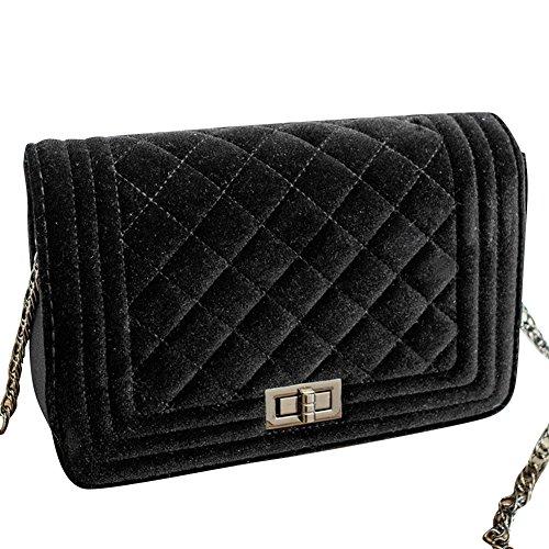 Damen Kleine Umhängetasche Schulterkette Gitter Pattern Handtasche Satchel Messenger Purse Tasche Grau Schwarz