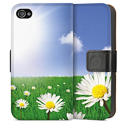 Apple iPhone 4 Housse Étui Silicone Coque Protection Pâquerette Prairie de fleurs Soleil Sideflip Sac