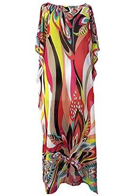 FreestyleMo Damen Elegante Blumen Sommer Kleid Chiffon Tunika Strandkleider Lose Kaftan Smock