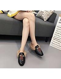 Women Pump Broderie Chaussures plates 2017 Automne et hiver Nouveaux coutures confortables Sandales en peluche Chaussures en dentelle Taille Eu- 34-40
