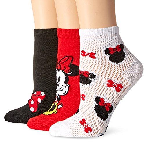 Girls Pointelle (Disney Minnie Mouse Big Girls Pointelle 3pk Shorty Socks, Assorted, 9-11)