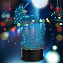 3d Illusion lámpara Unicornio LED Night Light con 7colores intermitente y Touch Switch USB Powered Camera de cama lámpara de mesa para I Niños Regalos Decoración de la casa