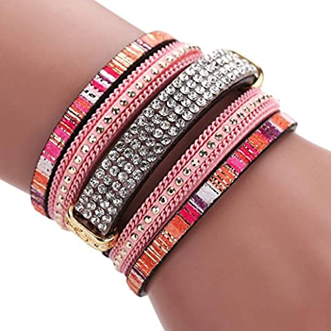 Mingfa.y Vintage Bohemia Beaded Multilayer Leather Bracelet, Handmade Braided Wrap Cuff Magnetic Clasp for Women (Pink)