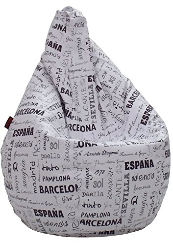 loconfort Puff pera XL Adulto Polipiel Estampada Ciudades Blanco (85x8