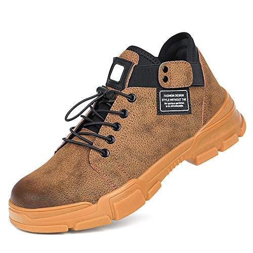 FREEUP S1 Leder Sicherheitsschuhe für Herren und Damen Stahlkappe Industrie Schuhe für Arbeit Trekking Schutzschuhe,Brown,39EU -