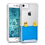 kwmobile Schutzhülle für Apple iPhone 7/8 mit Flüssigkeit - Hardcase Akkudeckel Wasserschutz mit Motiv Enten in gelb/blau/transparent