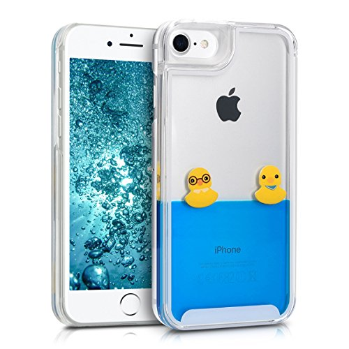 kwmobile Hülle für Apple iPhone 7 / 8 - Hardcase Backcover Case mit Flüssigkeit Handy Schutzhülle - Cover mit Enten Design in Gelb Blau Transparent Enten Gelb Blau Transparent