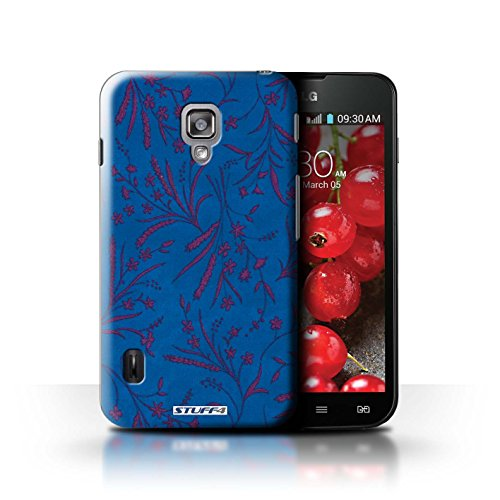 Kobalt® Imprimé Etui / Coque pour LG Optimus L7 II Dual / Rose/Orange conception / Série Motif floral blé Bleu/Rose