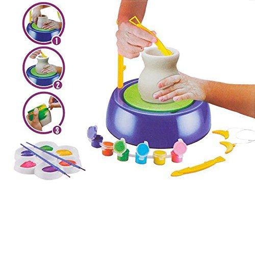 Yaetek Töpferscheibe für Kinder, Keramik Studio-Set , Lernspielzeug mit Ton, DIY, Handarbeit, für Anfänger, zur Unterhaltung -