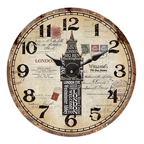 Kreative Wanduhr/Vintage Wanduhr, runde architektonische Muster dekorative Uhr, geeignet für Wohnzimmer, Schlafzimmer, Studie (Durchmesser 33,8 cm)