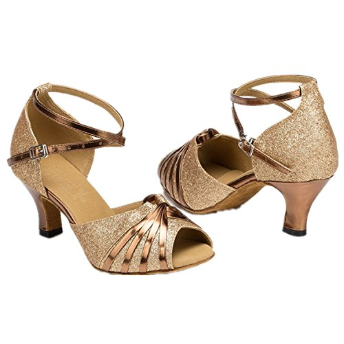 XPY&DGX Golden femmina pesce estate bocca di ballo latino piazza scarpe scarpe da ballo con basso-sbandata sexy europei e American National Standard scarpe da ballo, 255MM