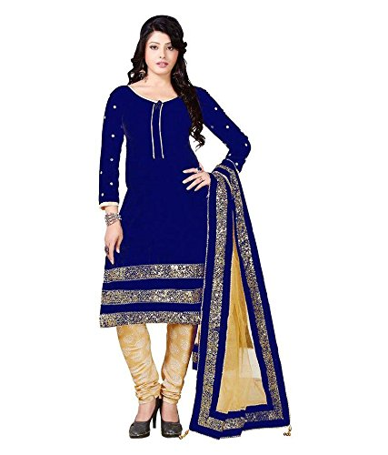 Blue Velvet Straight Cut Salwar Suit  available at amazon for Rs.689