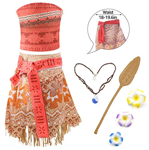 Disney Kind Kostüm Jasmin - RioRand Moana Mädchen Kostüm Vaiana Prinzessin Kleid Abenteuer Verkleidung Rock Set Prinzessin Kleid mit Halskette ,Flower and Oar für Kinder Party Cosplay Halloween Geburtstag Karneval (100/2 Jahre)