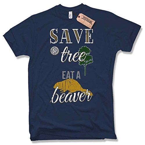 SAVE A TREE- EAT A BEAVER T-Shirt, Vintage, Fun, versch. Farben Gr. S