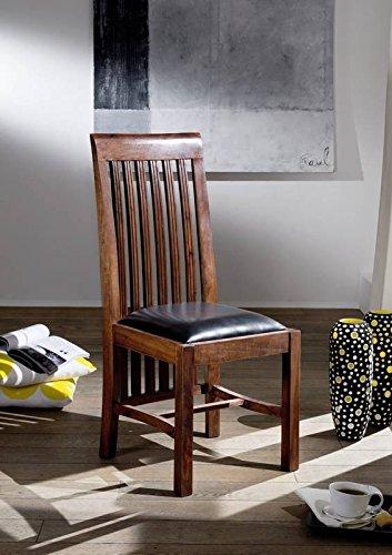 MASSIVMOEBEL24.DE Stuhl Akazie 45x51x103 Nougat lackiert Polster schwarz Bangalore Oxford #6
