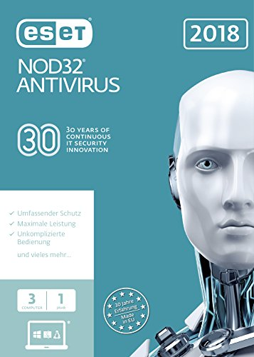ESET NOD32 Anivirus 2018 | 3 User | 1 Jahr Virenschutz | Windows (10, 8, 7 und Vista) | FFP
