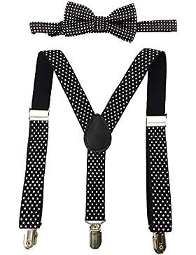YCHENG Kinder Unisex Elastisch Hosenträger mit Fliege 3-Clips Y-Form Gepunktet
