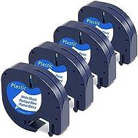Airmall 4x Plastico Negro sobre Blanco Cintas de Etiquetas Compatible con Dymo LetraTag Etiquetado 12mm x 4m Compatible con LetraTag LT-100H LT-100T LT-110T QX 50 XR XM 2000 Plus