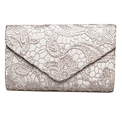 SUMAJU Lace Envelope Clutch, Womens Floral Lace Envelope Clutch Purses, Elegant Handbags for Parties and Wedding Occasions