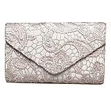 Sumaju - Bolso de mano clutch con detalles de encaje y florales para mujer. Bolsos elegantes para fiestas y bodas