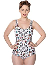 Banned Womens Call It Simple Swimsuit (White)