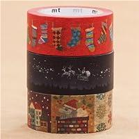 Set nastri adesivi Washi natalizi 3 pz calze cielo notturno paesaggio invernale