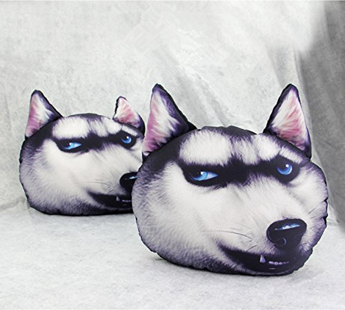 3D cartoon animal car pillow pillows and a lovely expression pillow for the home office pillow - an interesting gift and travel nap pillow(grey Husky)