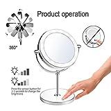 Doppelseitiger LED-Beleuchteter Kosmetikspiegel - Beleuchteter Kosmetikspiegel; 1X/10X Vergrößerung; Poliertes Chrom-Ende