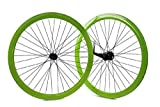 RIDEWILL BIKE Coppia Ruote Fixed Bike Verdi con contropedale (Contropedale) / Pair of Green Wheels for Fixed Bike with Coaster Brake (Coaster Brake)