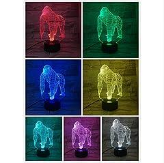 Idea Regalo - Animal Gorilla 3D Lampada Touch Sensor 7 Cambia colore Lampada decorativa Bambino Bambini Baby Kit Nightlight orangutan Led Night Light