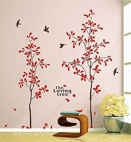 Yanqiao Lovers Bäume Mode Kombination Großes Wand Kunst Abziehbild für Wohnzimmer Wanddekoration Entfernbare Vinyl Abziehbild Zuhause Dekorieren Größe