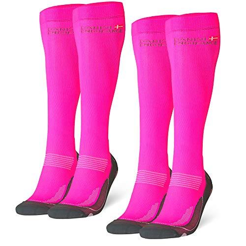 Abgestufte Kompression Socken für Männer & Frauen  EU 39-42 // UK 6-8 Rosa - 2 Paare -
