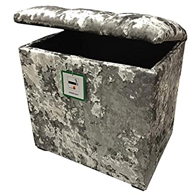 Small Linen Box / Dressing Table Stool with a lift up Diamond Crystal lid in a Quality Silver Velvet fabric...Ideal for any room in the house produced by Elegance Furnishings - quick delivery from UK.