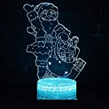 Neue Santa Claus3d Kleine Lampe Kreative Sieben Farbsteuerung Touch Led Visuelle Geschenk Led Nachtlicht Neuheit 3d Licht