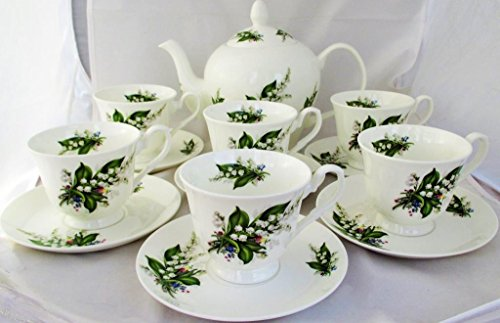 Lily Of The Valley Juego de té juego de café Porcelana Decorada a mano en el Reino Unido 1gran tetera/cafetera 6tazas y 6Platillo entrega gratuita