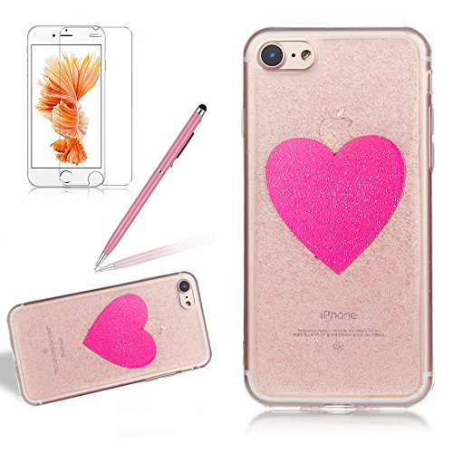 Custodia per Apple iPhone 7 Plus / iPhone 8 Plus 5.5 Torretta di Trasmissione - Bling Girlyard Glitter Brillantini in TPU Sottile Morbido Colorate Silicone Trasparente Slim Case Cover Gel Antiurto El Rosa Amare