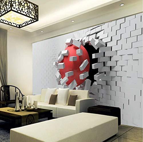 VVBIHUAING 3D Tapete Wand Dekorationen Wandbilder Aufkleber Rote Kugel des Gebrochenen Wandeffektes Dekoration Home Wohnzimmer Hintergrund Landschaft Kunst Kinderküche (W) 300x(H) 210cm -