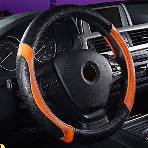 Semoss Universal Anti Rutsch Echt Leder Lenkradhülle Atmungsaktive Lenkradbezug Schwarz Orange Lenkradschutz Lenkradabdeckung Lenkradschoner Auto,Dimension:37-38 cm