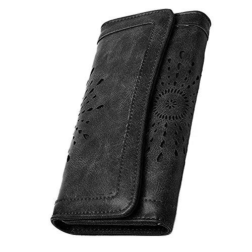 Damen Elegant PU Leder Geldbörse mit Vintage Design Damen Portemonnaie Geldbeutel, Damengeldbörse lang,Portmonee mit Reißverschluss, Farbe:schwarz- braun (schwarz)