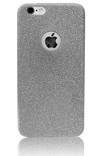 Vandot TPU Silikon Hülle für iPhone 6 6s Glitter Glitzer Bling Case Cover Schutzhülle mit Kratzfeste Stoßdämpfende Ultra Thin Weich Perle Diamant Crystal Shining Kristall Schutz Schleife Anhänger Hand Schwarz