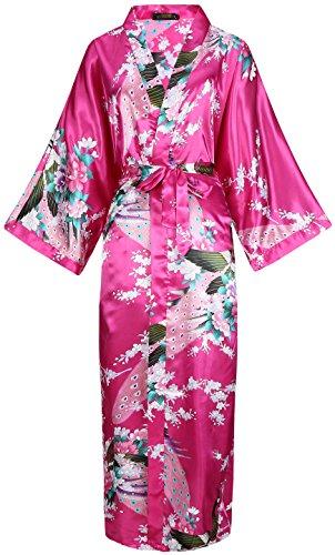 BABEYOND Damen Morgenmantel Maxi Lang Seide Satin Kimono Kleid Pfau Muster Kimono Bademantel Damen Lange Robe Schlafmantel Girl Pajama Party (Rose Rot) (Kimono-robe-kleid)