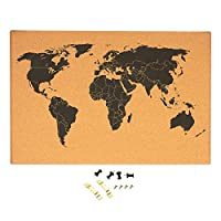 Cork Board Map of The World - Detailed World Map Black Printed Frameless World Travel Map with Pins, 23.5 x 0.75 x 15.75 inches