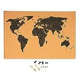 Bacheca in sughero con mappa del mondo-dettagliata mappa del mondo nero stampato Frameless mondo viaggio mappa con perni, 59,7x 1,9x 40cm