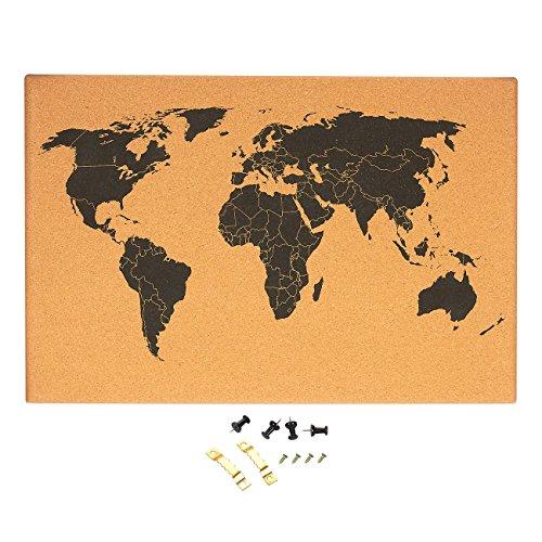 Cork Board Karte der Welt-Detaillierte Weltkarte schwarz bedruckt rahmenlose World Travel Map mit Pins, 59,7x 1,9x 40cm