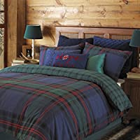 """Riva Paoletti Ayrshire Double Bed Duvet Set - Tartan Check Design - 2 x Housewife Pillowcases Included - Blue and Green - PolyCotton - Machine Washable - 200 x 200cm (79"""" x 79"""" inches)"""