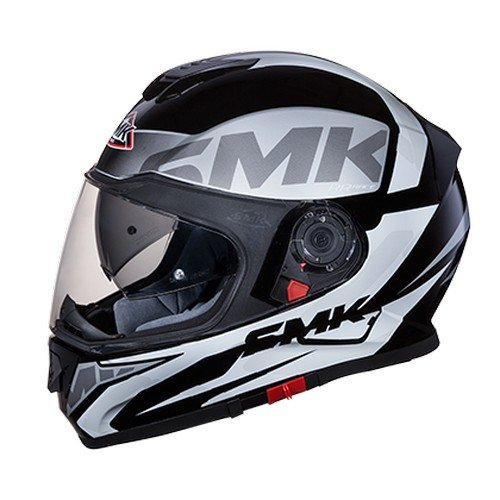 SMK MA261 Twister Logo Graphics Pinlock Fitted Full Face Helmet With Clear Visor (Matt Black, Grey and White, L)