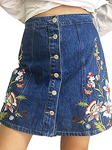 Simplee Apparel Women's Button Front Denim A-Line Short Mini Skirt Embroidery
